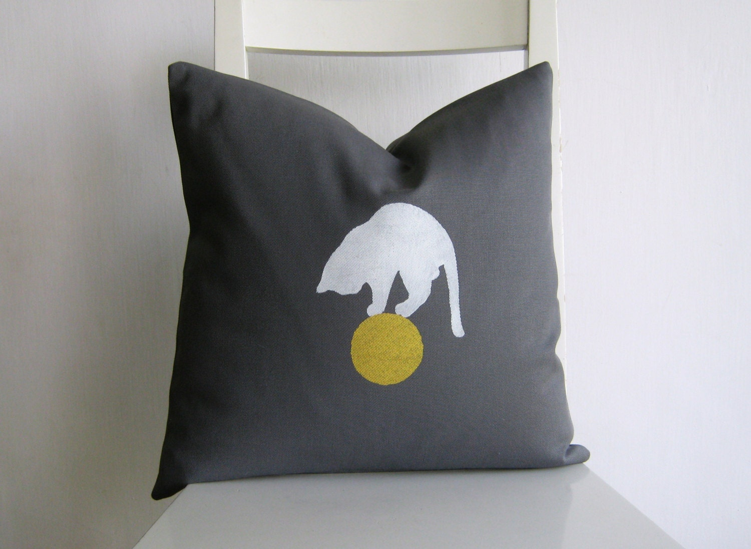 White Cat on a Golden Ball 16 x 16 Cushion cover - pillow1