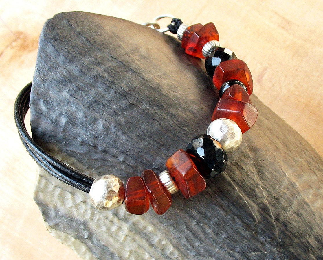 Genuine Baltic Amber Bracelet on Leather Cord - Brown Amber, Black Onyx, Sterling Silver - OOAK - BacaCaraJewelry