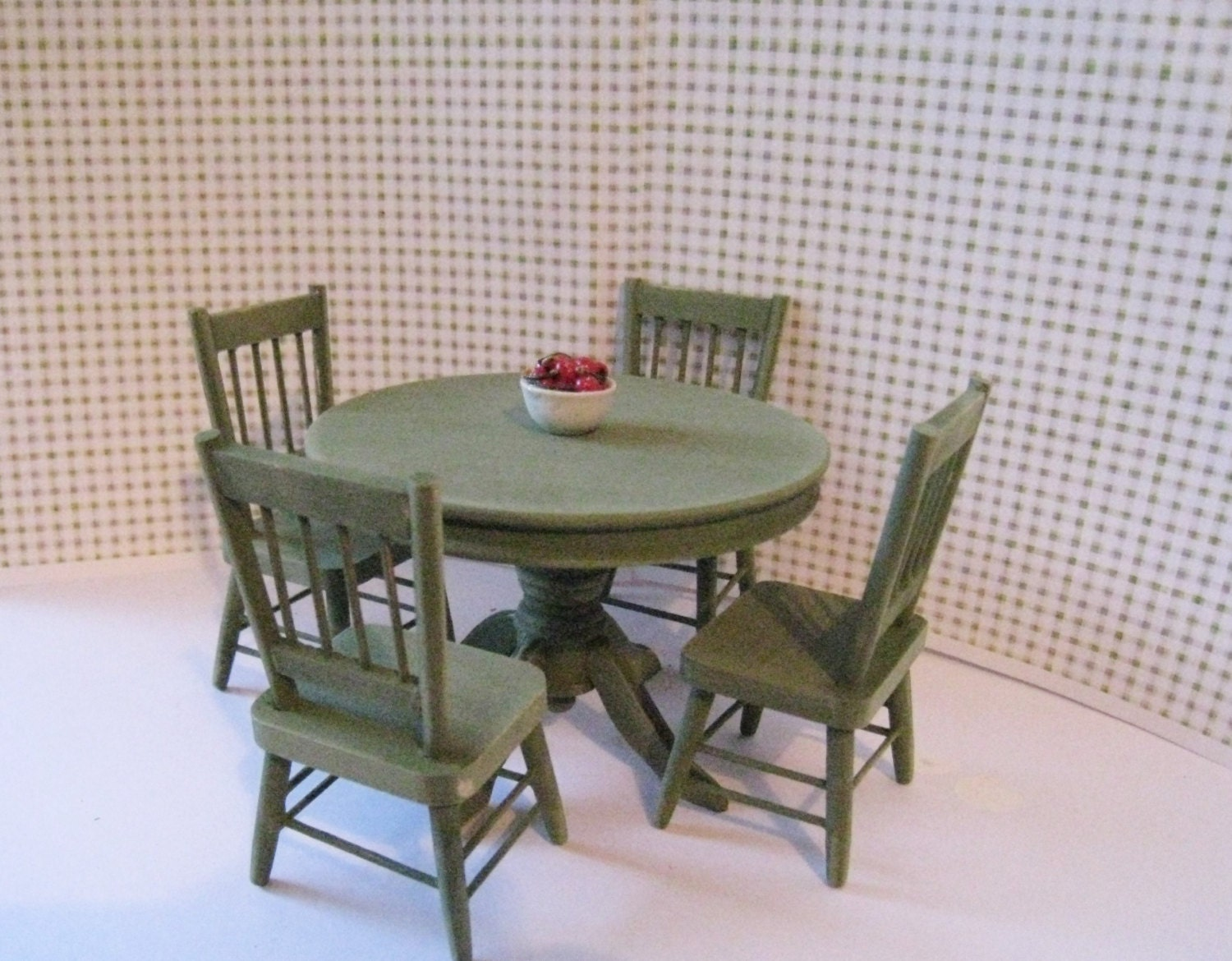 Dollhouse Kitchen table kitchen chairs round table Sage green table sage chairs country table twelfth scale dollhouse miniature