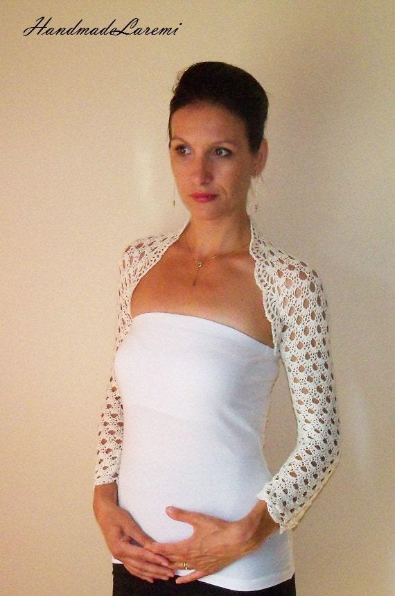 Lace BRIDAL BOLERO / Ivory WEDDING Shrug / Crochet Lace Bolero Jacket ...