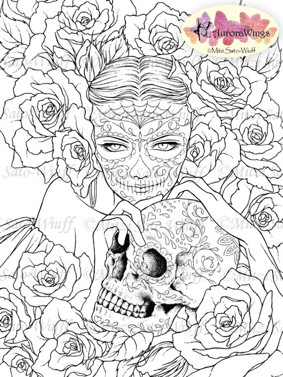 Digital Stamp Sugar Skull Day of the Dead Catrina by