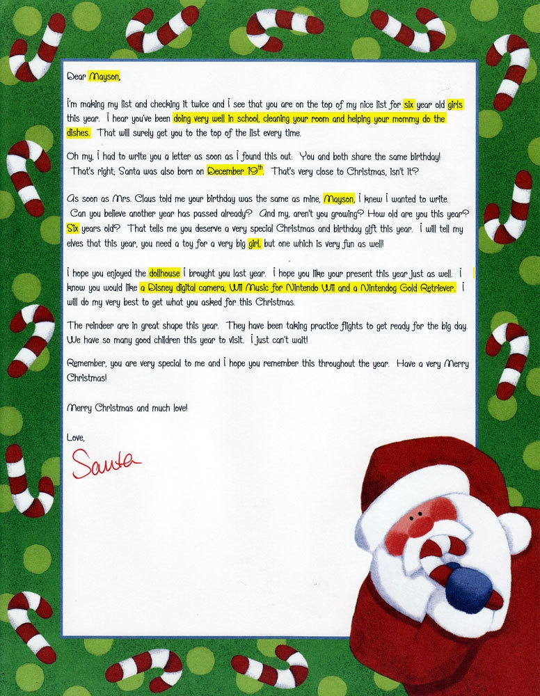... Personalized Santa Letter - Letters from Santa For Birthdays on Etsy