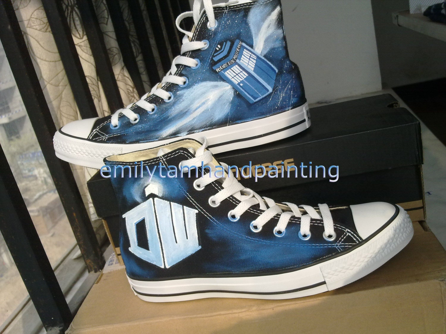 Doctor Who Tardis on Converse All Star High Top Sneakers