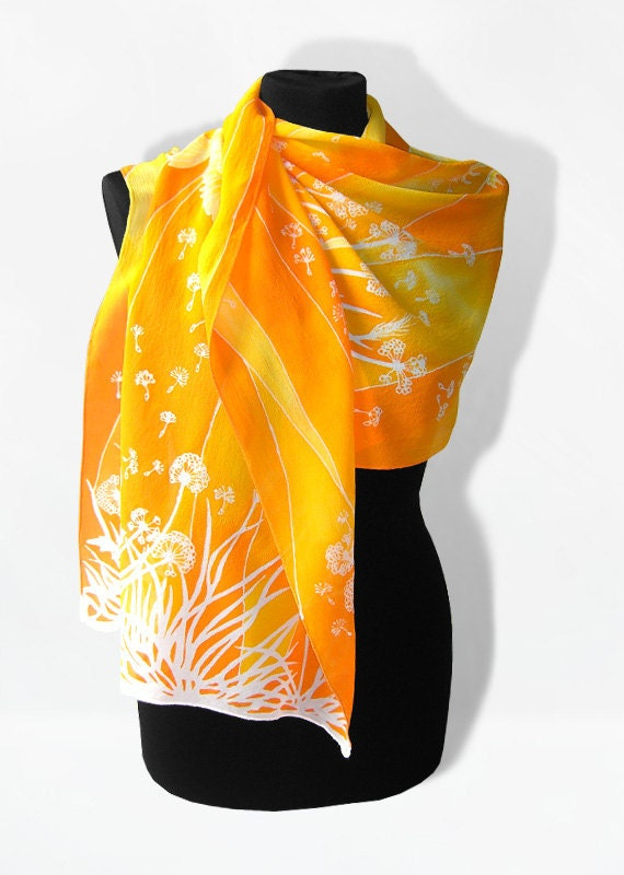 Silk Scarf long - Dandelions & Birds - summer scarves - orange white yellow - MinkuLUL