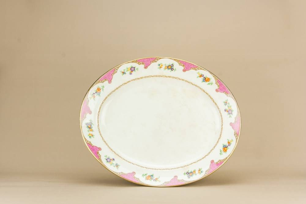 Elegant NeoClassical Burgess Leigh Floral Dish Serving PLATTER Dinner Pottery Antique Meat Oval 1910s English LS