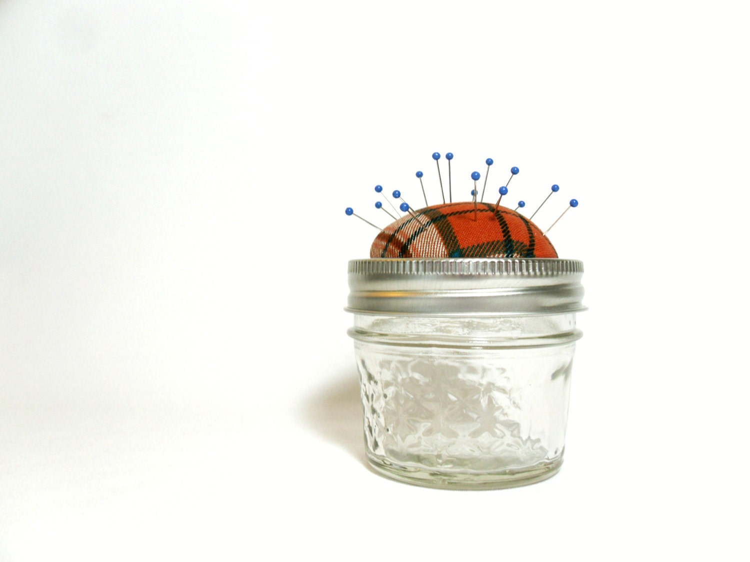 Plaid Pincushion Jar, Orange and Blue Small Unique Storage Pincushion - OneRedButtonCrafts