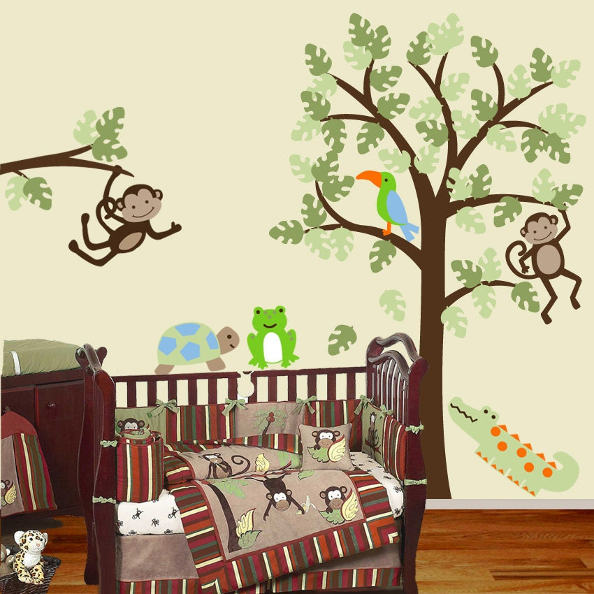 items similar to baby nursery wall decal tree and monkey matches