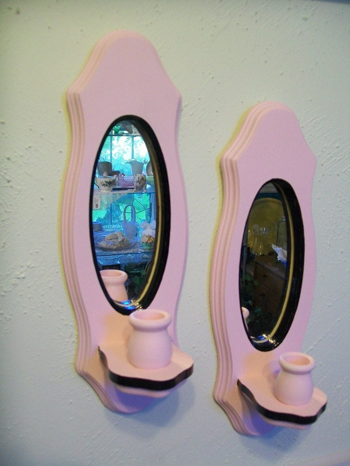 2 Pink and Black candle holders Mirror sconces Wall by zantana