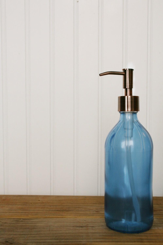 Vintage Inspired Glass Soap Dispenser Blue By Rail19 On Etsy