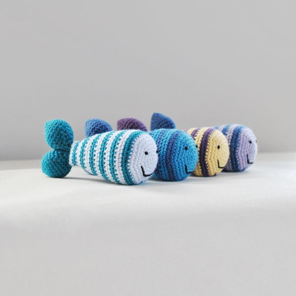 Eco Baby Toy Fish - Create Your Own - Natural Wool Happy Fish Rattle - SnowfallStudio