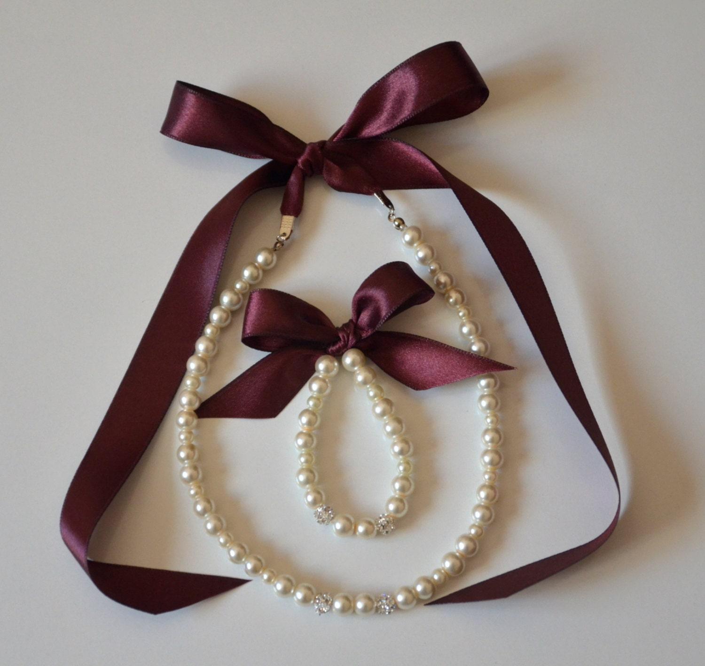 Plum flower girl jewelry set adjustable necklace and stretchy bracelet with swarovski crystal balls wedding jewelry  flower girl - xxyz