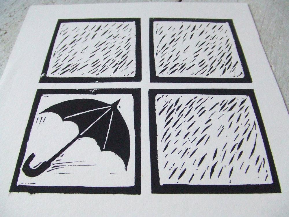 Linocut - Rainy Day