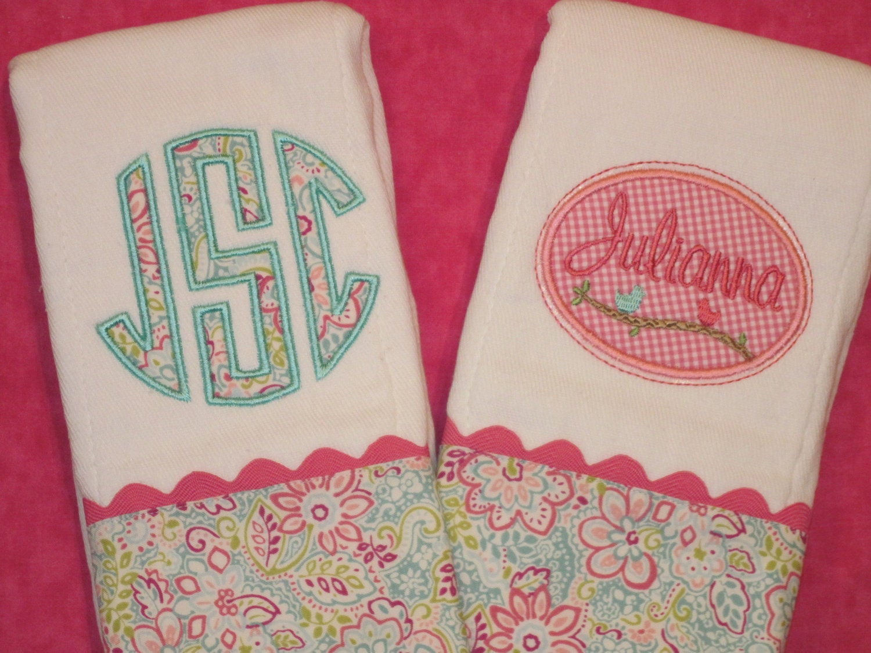 Personalized Baby Girl Burp Cloths by SassyJunebugDesigns