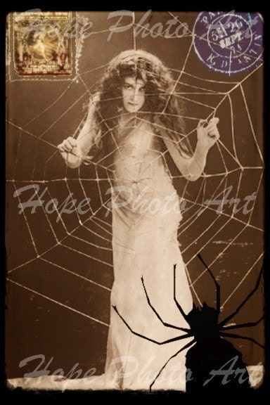 Trapped Vintage Halloween Postcard 4x6 - backgrounds ATC ACEO greeting cards - U print 300dpi jpg