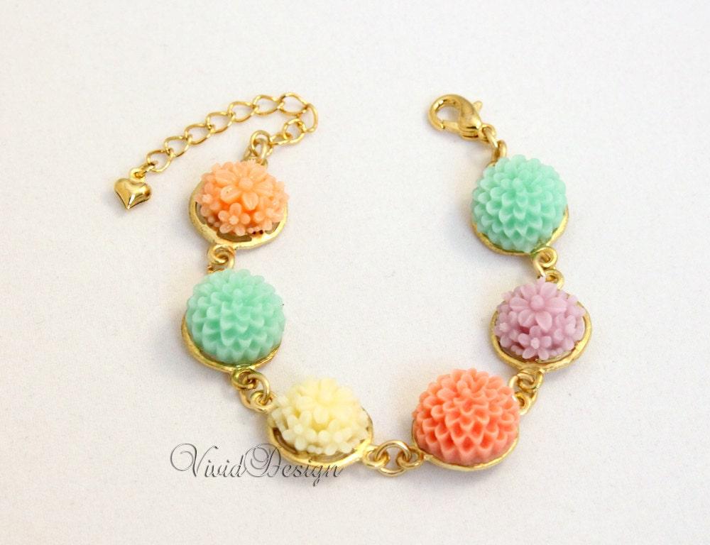 Floral Bracelet, Matte Gold Bracelet, Spring 2012