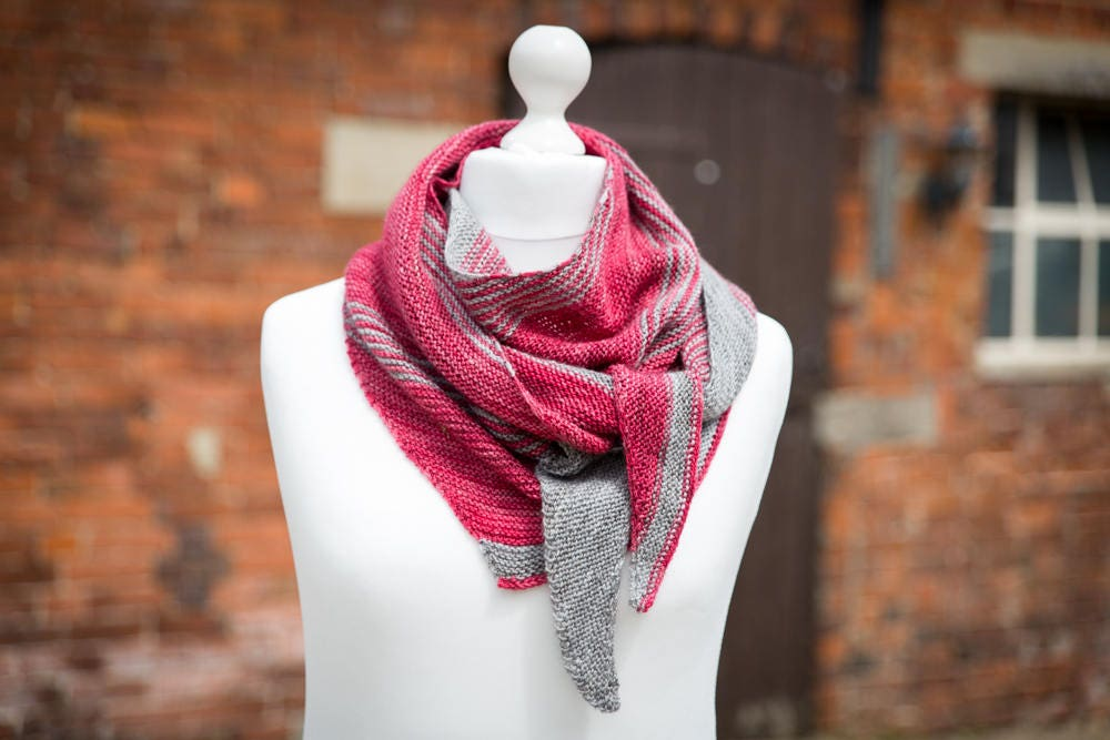 Hand Knit Luxury Scarf Shawl Wrap  Merino Wool  Ruby Grey Stripes  READY TO SHIP