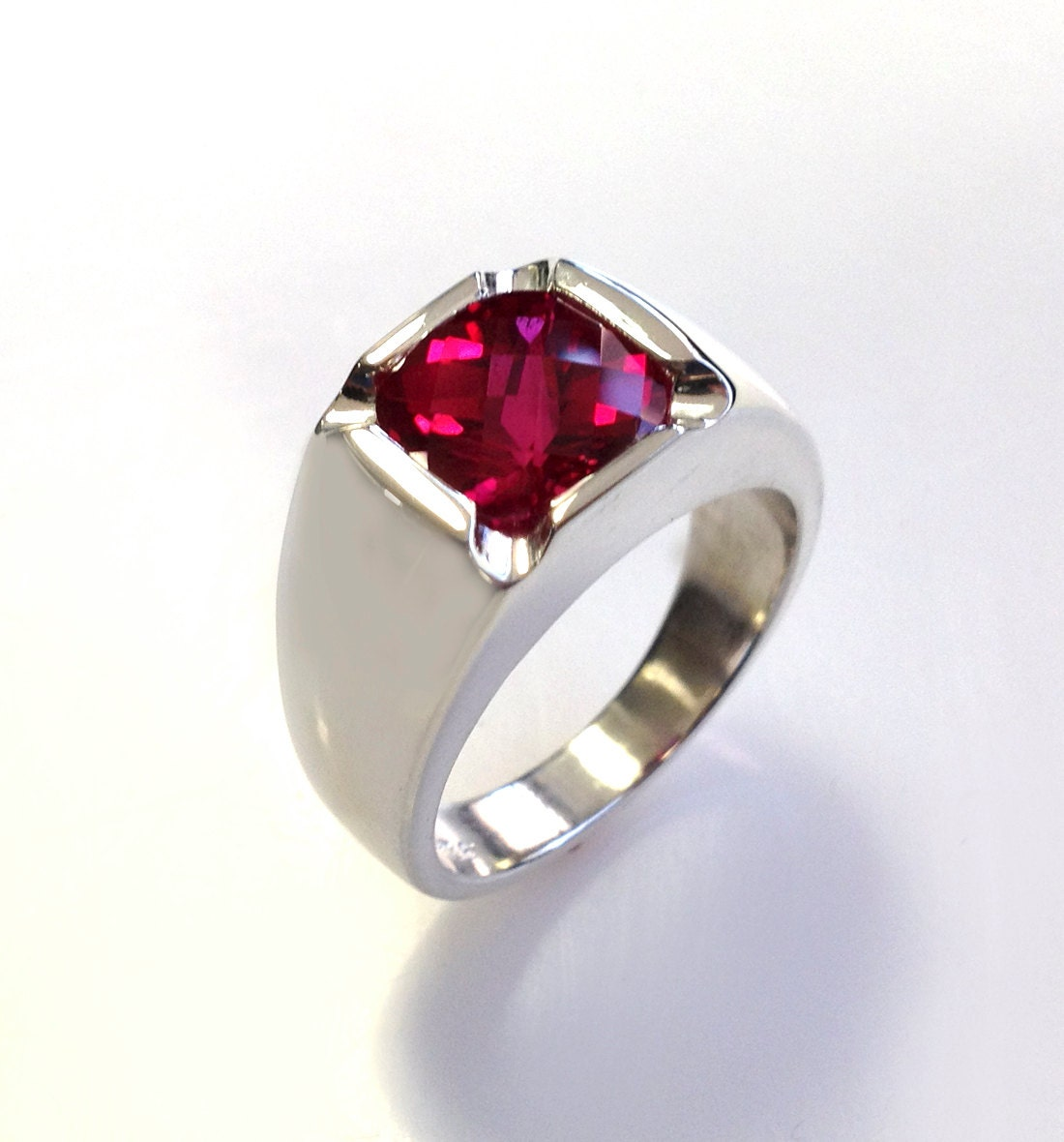 Mens Ruby Rings on Mens Antiquestyle Cushion Cut Ruby Ring In By Dougpetersonjewelers