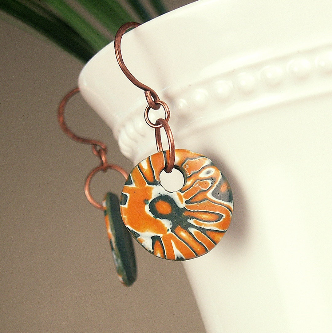 SALE University of Miami Hurricanes Game Day School Spirit Polymer Clay Earrings featuring Abstract Tropical Design - MySchoolJewels