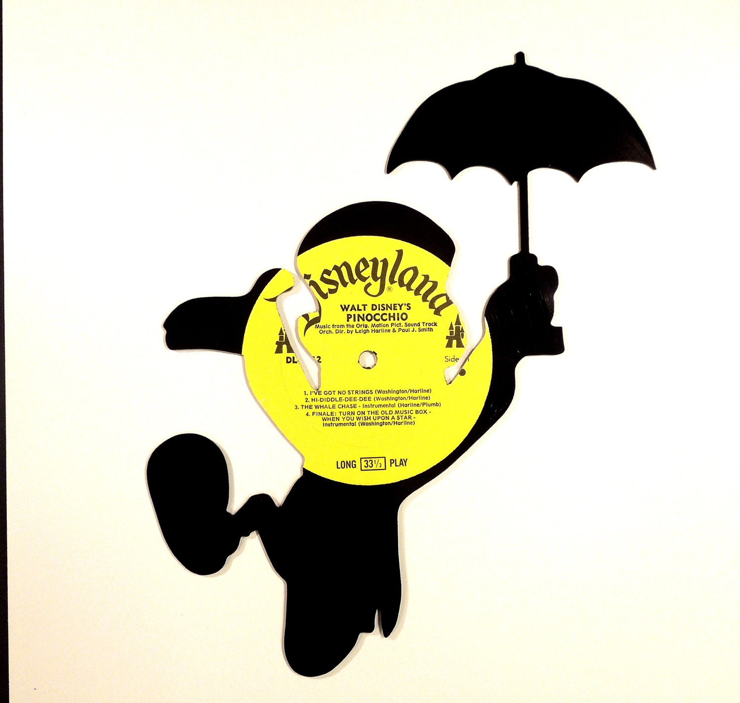 JIMINY CRICKET silhouette made from vinyl record album PINOCCHIO - sillyette