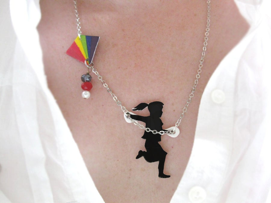 Rainbow Girl Flying a Kite Black Silhouette Necklace on UpcycleFever