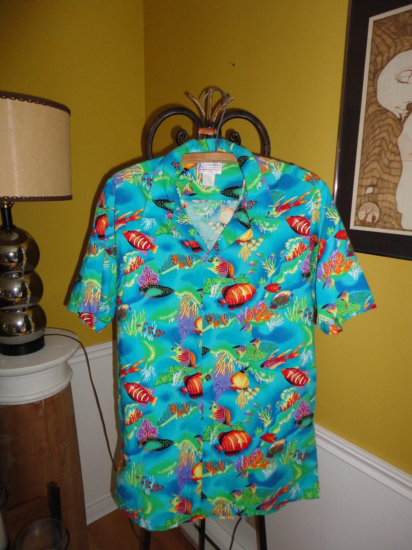 Vintage men 39 s hawaiian shirt with tropical fish design by for Fish hawaiian shirt