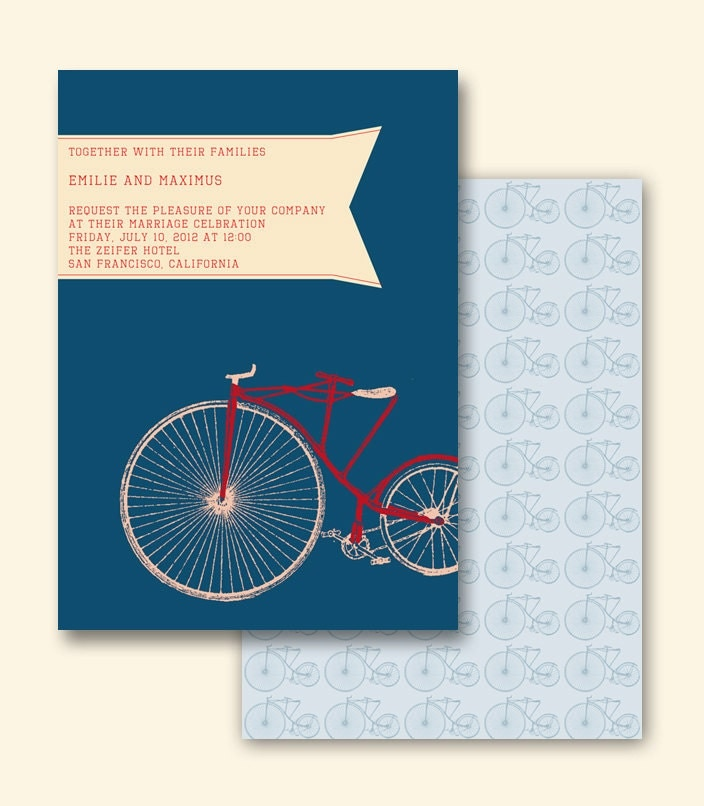 Vintage Bicycle Wedding Announcement PSD Template OR Made to order