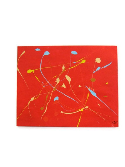 movement on red abstract in acrylic - KCIADesigns