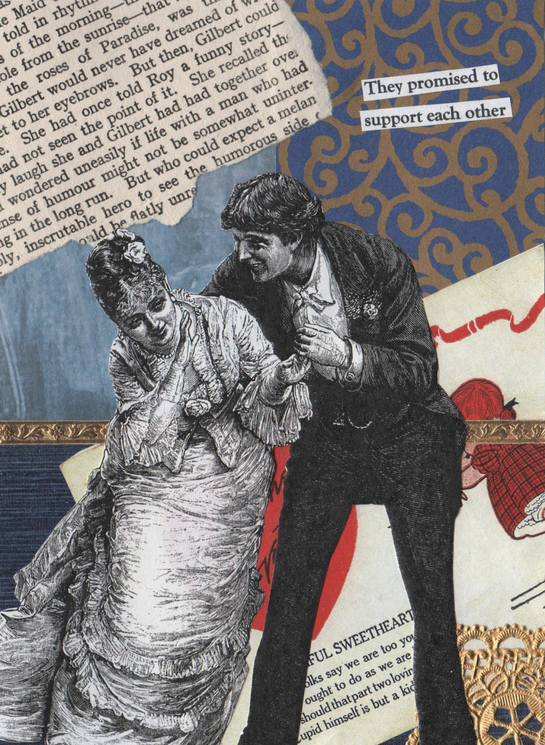 Quirky Romantic Card With Victorian Couple Mixed Media Art Collage   -- They Support Each Other - rhodyart