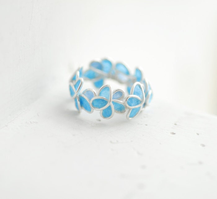 Reserved Pale Blue Forget Me Not Flower Ring Wedding