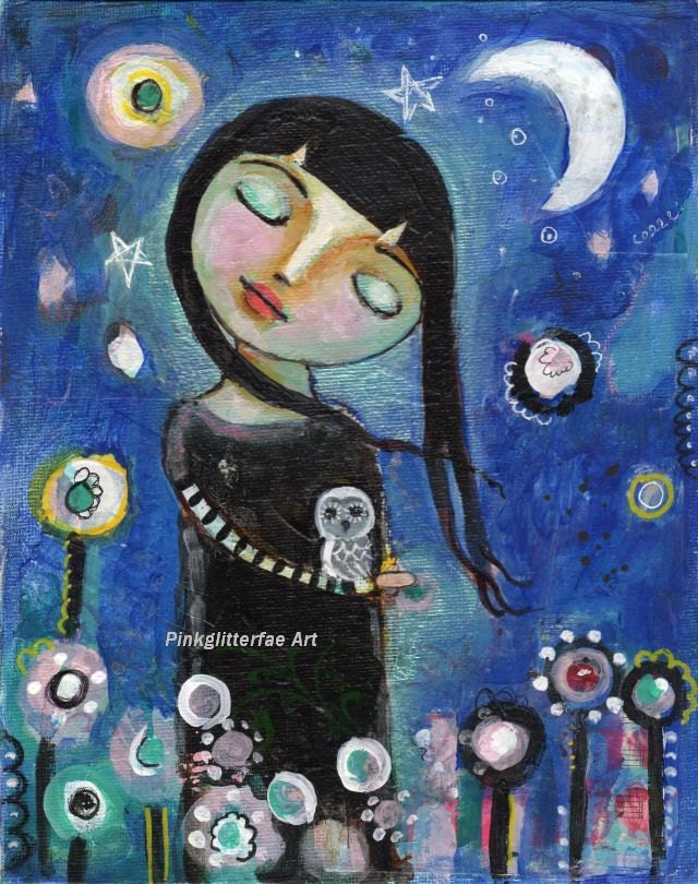 Mixed Media Girl with Owl 8 x 10 Folk Art Painting - pinkglitterfae