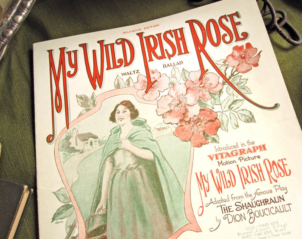 "Sheet music, ""My Wild Irish Rose,"" art nouveau cover by Starmer, wild roses in pink and green, vintage 1899, St. Patrick's Day, waltz"