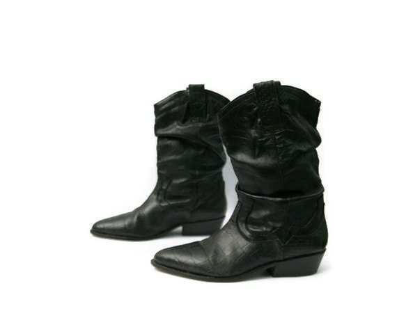 vintage boots cowboy leather black slouch mens by