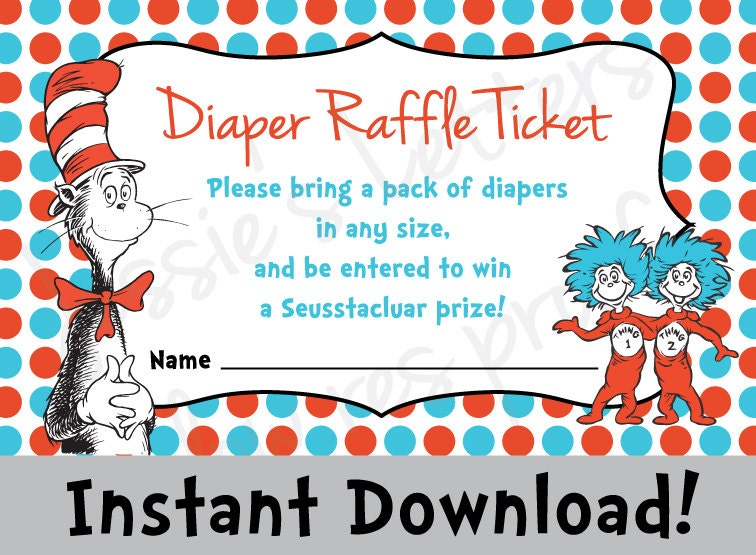 Dr. Suess Baby Shower Diaper Raffle INSTANT by JessiesLetters