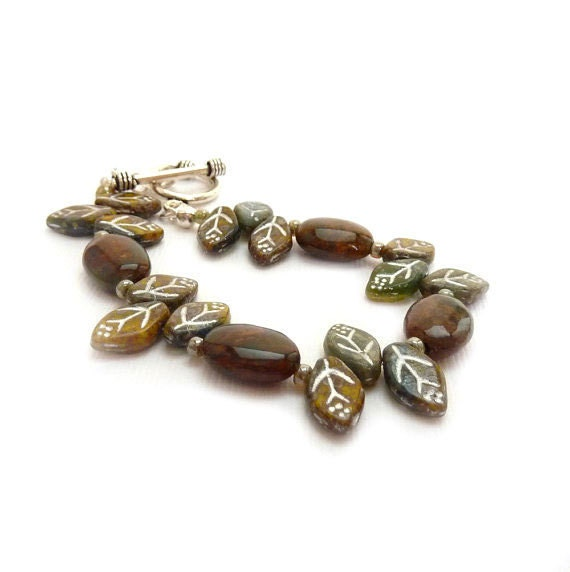 Earthy Jasper Bracelet, Czech Glass Leaves, Amber Brown, Olive Green,  Sterling Silver Toggle, Woodsy, Rustic Jewelry - RockStoneTreasures