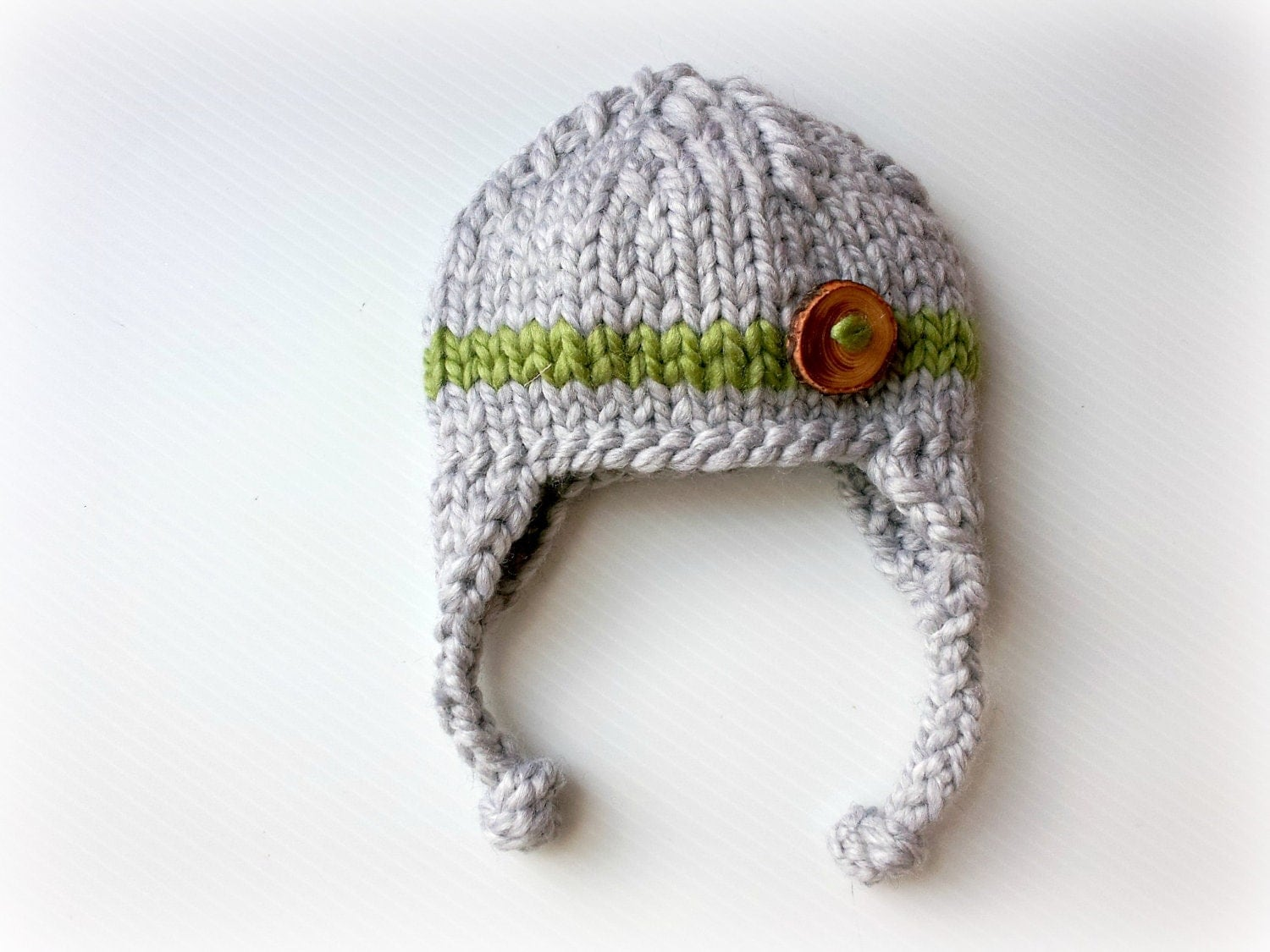 gray green stripe baby boy knitted hat, newborn photography prop, baby shower gift, baby photo prop, infant earflap beanie - PreciousLittleBaby