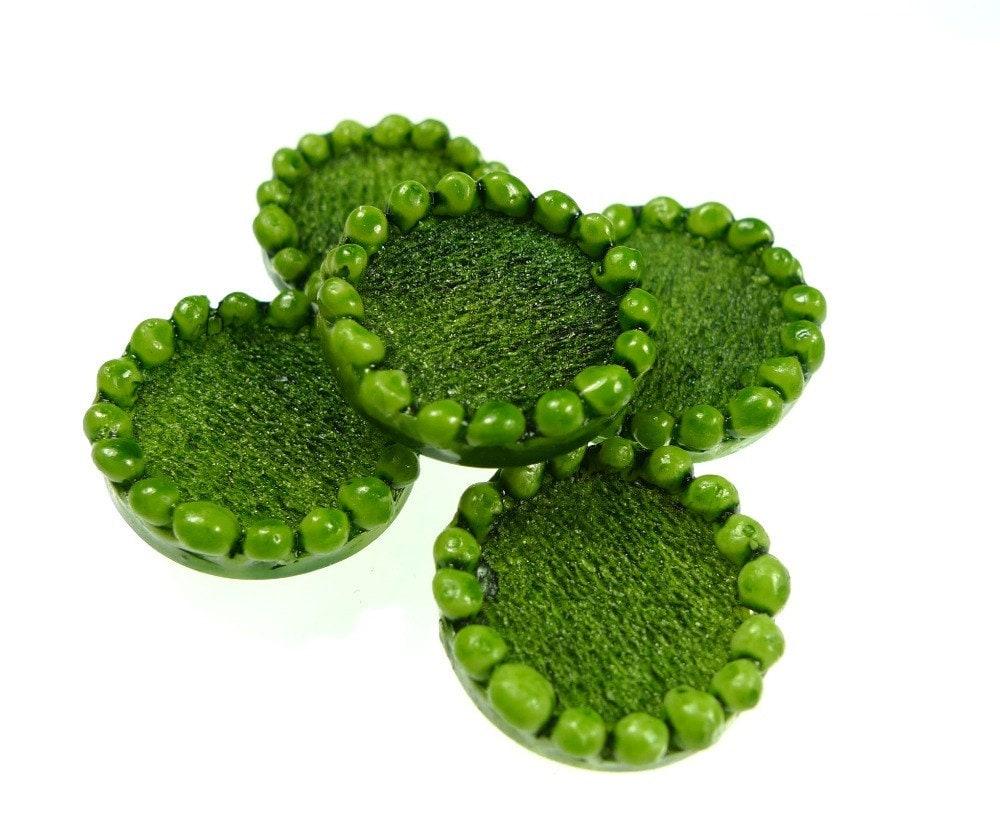 Buttons, light green resin 2pcs - oldish