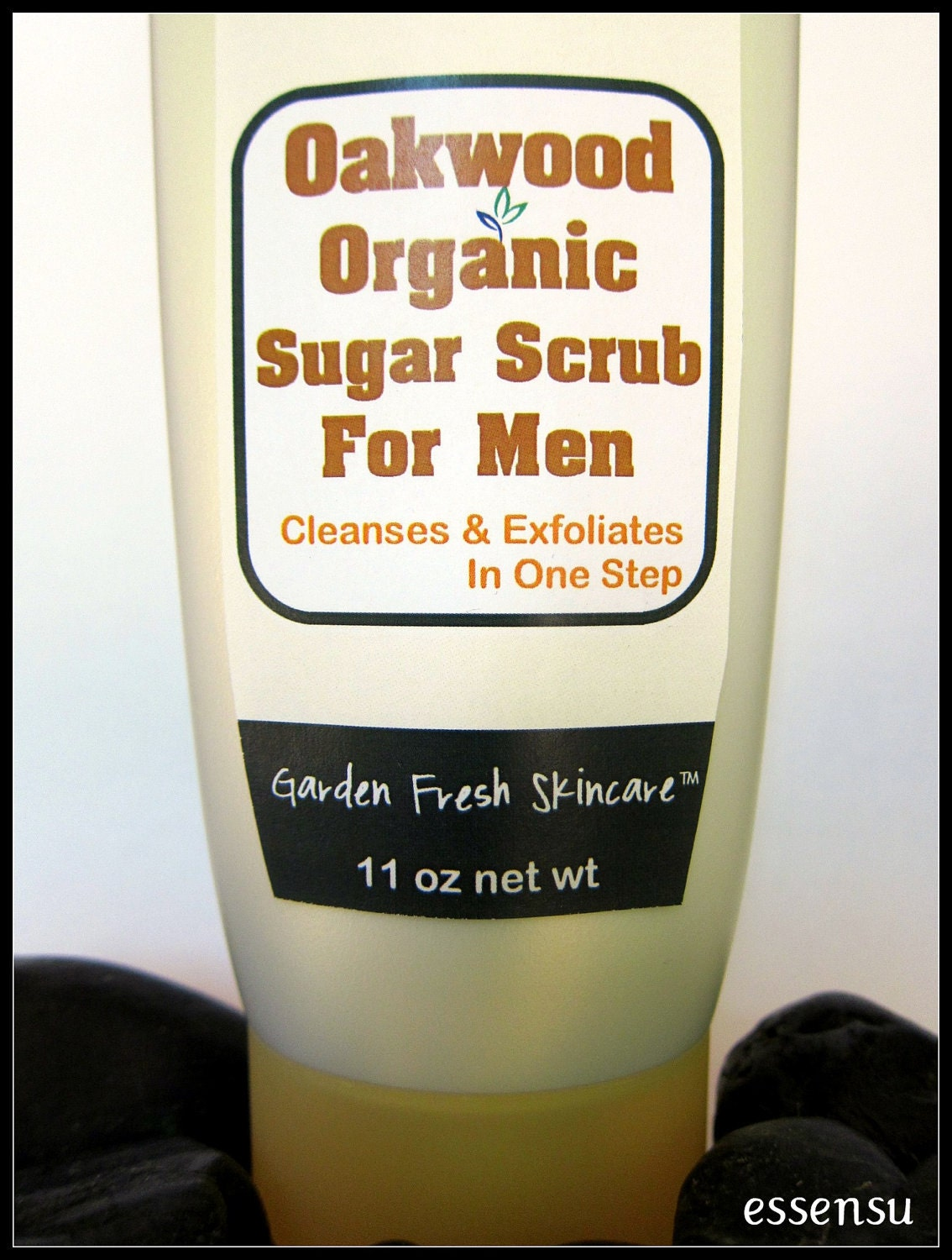 Mens Oakwood Organic Exfoliating Body Scrub - 11 oz Vegan No Parabens - essensu