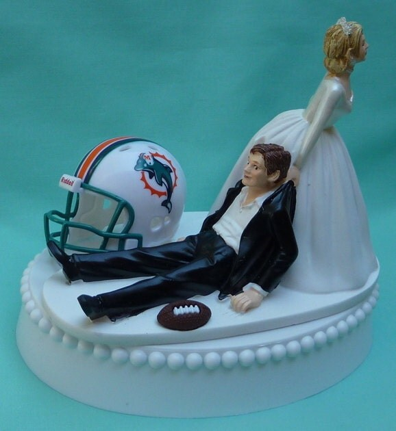 Wedding Cake Topper Miami Dolphins Football Themed W By WedSet