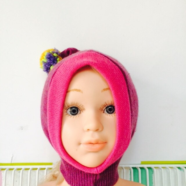 DIZZY 03m Cashmere Baby Hat  Newborn Balaclava Bobble Hat Snood Hoodie Upcycled Cashmere Pom Pom Unisex