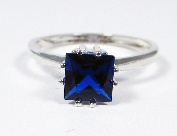 blue sapphire princess cut ring sterling silver by dreamyrings