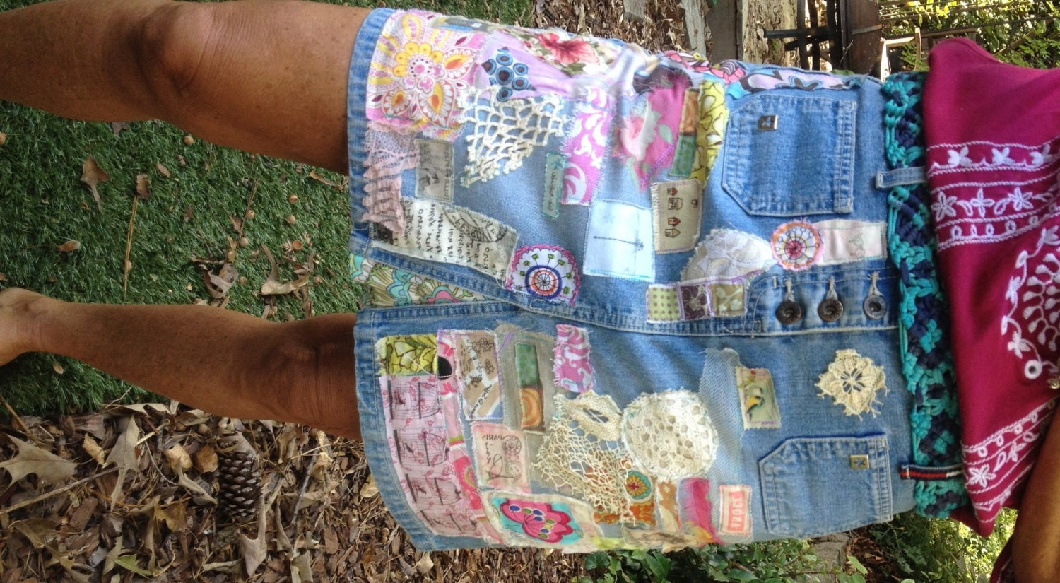 denim hippie jean skirt recycled patchwork applique by