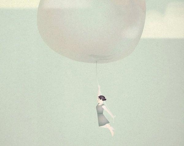 Bubble Girl Romantic Delicate Whimsical - Follow your dreams Print 8 x 11.5 - teconlene