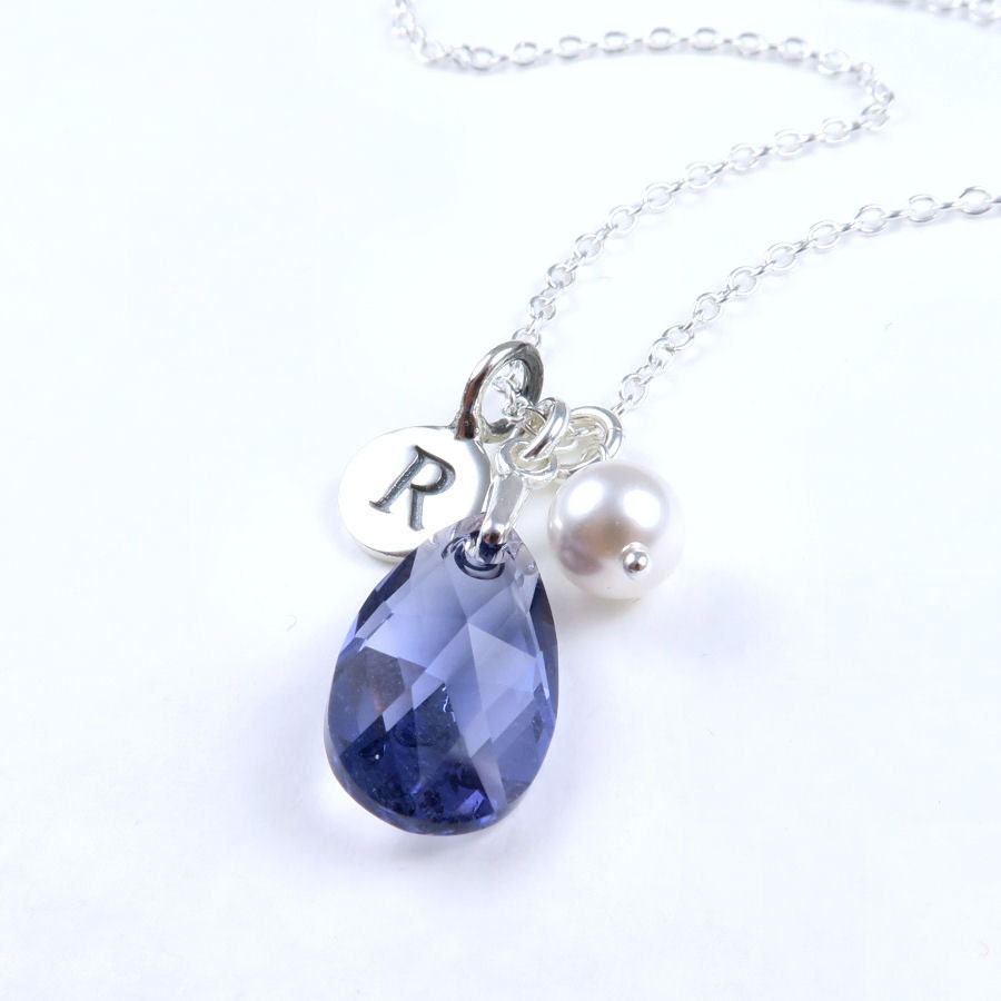 Personalized Tanzanite Necklace Crystal Pear Necklace Sterling Silver Initial Teardrop Crystal Pendant Tanzanite Jewelry Purple Crystal