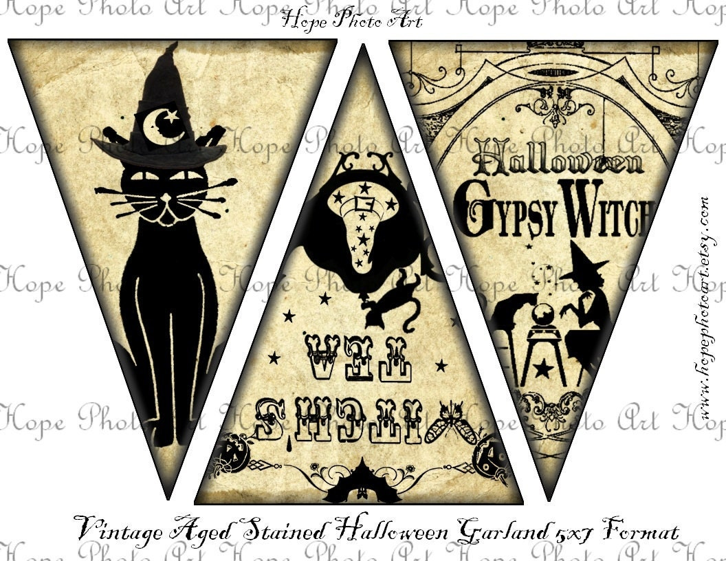 Halloween Silhouettes Large 5x7 Printable Party Supplies banner craft supplies pennant flags decoration bunting - U-Print 300dpi jpg