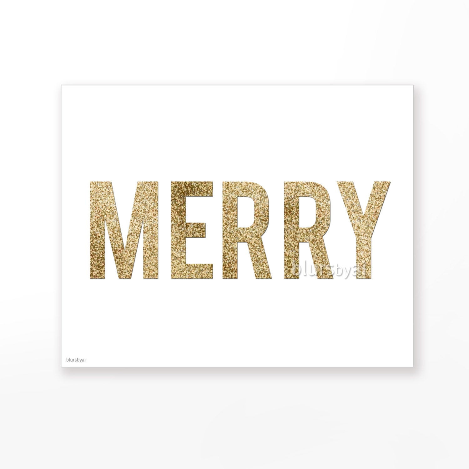 "Glitter Christmas printable "" Merry "" gold glitter typography quote print wall decor, party festive holiday print -pp91- Ready to ship - blursbyaiShop"