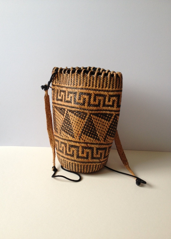 Wicker Basket Backpack : Vintage straw backpack two toned wicker by tukvintage