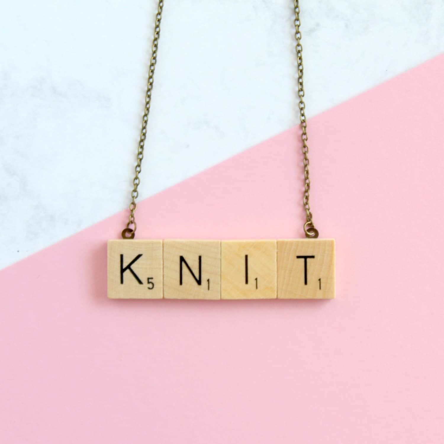 KNIT Phrase Necklace  Wooden Scrabble Inspired Knit Necklace Scrabble Necklace Knit Word Necklace Scrabble Christmas Gift