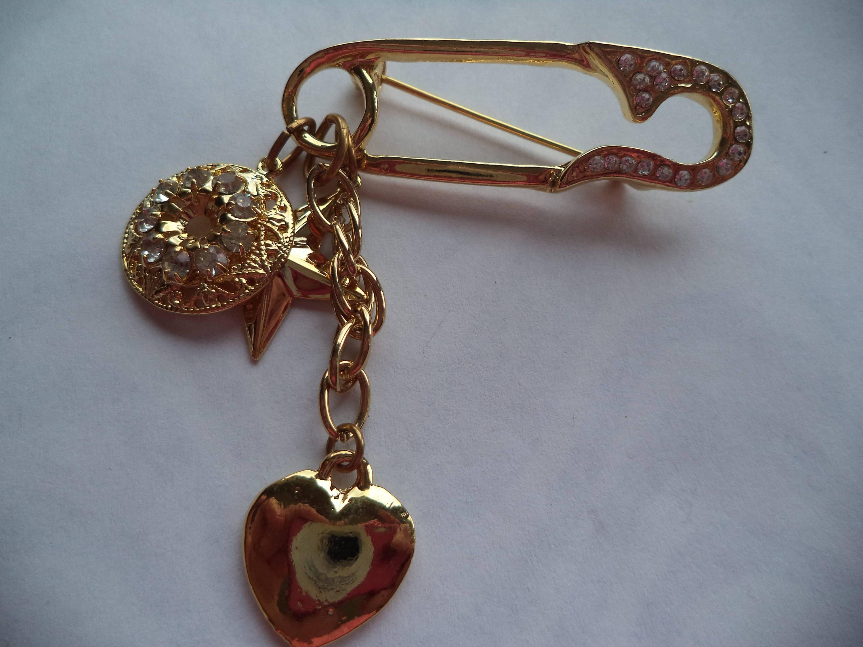 Fabulous Unsigned GoldtoneRhinestoneStar and Heart Safety Pin Dangler BroochPin