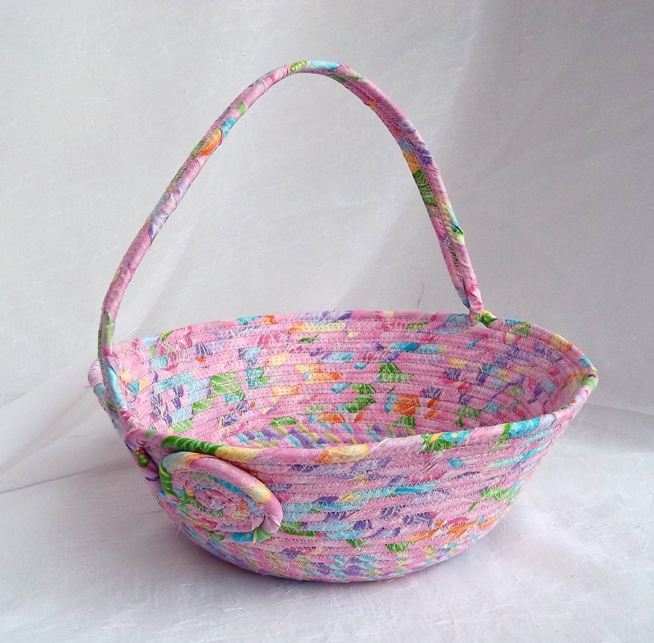 How To Make A Flower Girl Basket With Fabric : Pink easter basket flower girl handmade by
