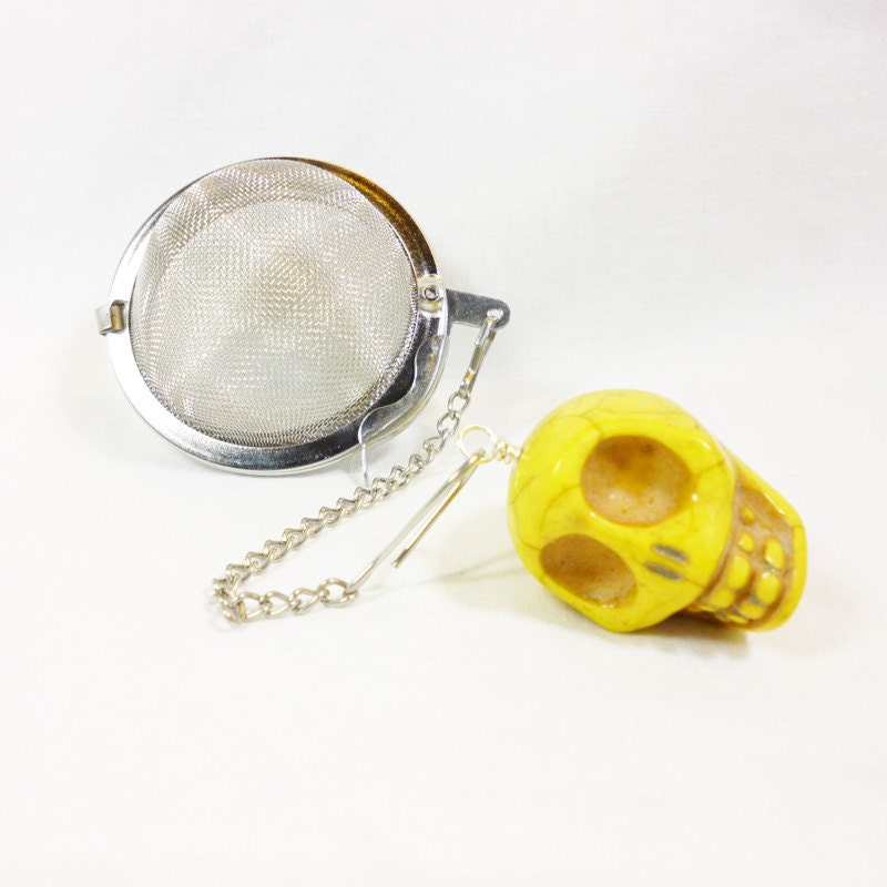 tea infuser with yellow skull charm by dryadtea on etsy